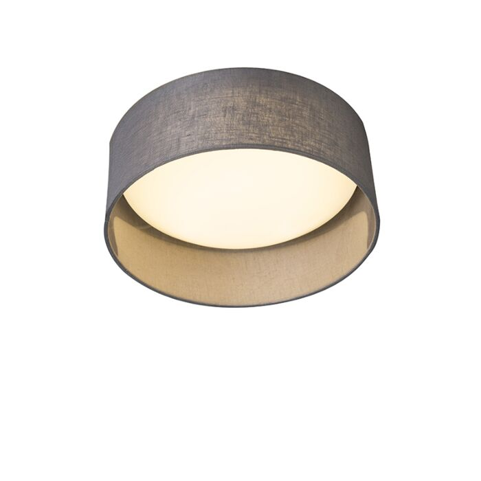 Plafondlamp-grijs-28-cm-incl.-LED---Drum-Combi