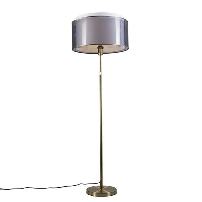 Vloerlamp-goud/messing-met-zwart/witte-kap-47-cm---Parte