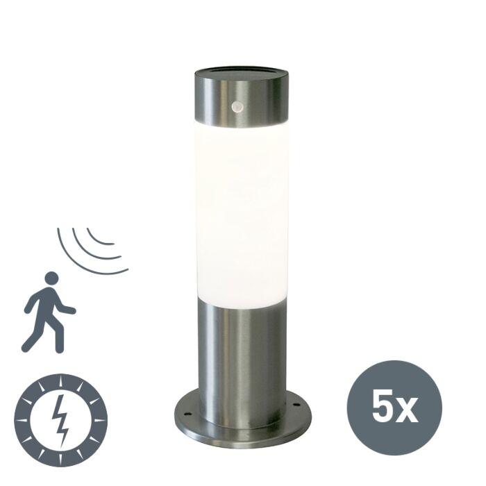 Set-van-5-buitenlampen-Rox-30-staal-op-zonne-energie