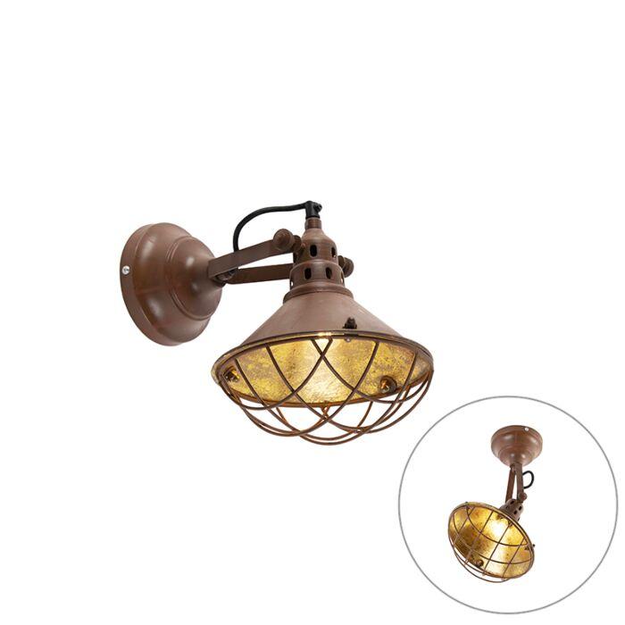 Vintage-wand--en-plafondlamp-roestbruin-kantelbaar---Barrack
