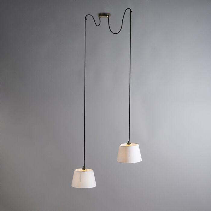 Hanglamp-Cava-2-goud-met-witte-kappen