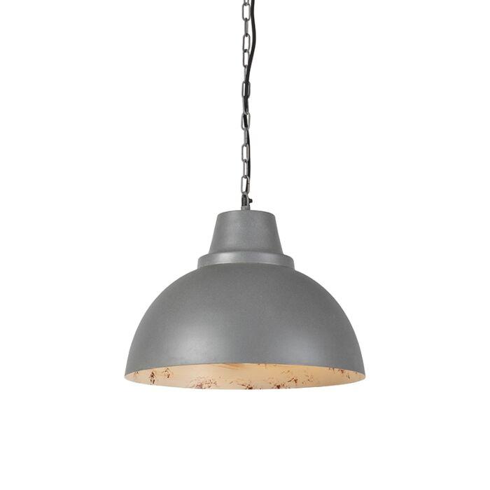 Industriele-ronde-hanglamp-grijs-met-witte-binnenkant---Falco