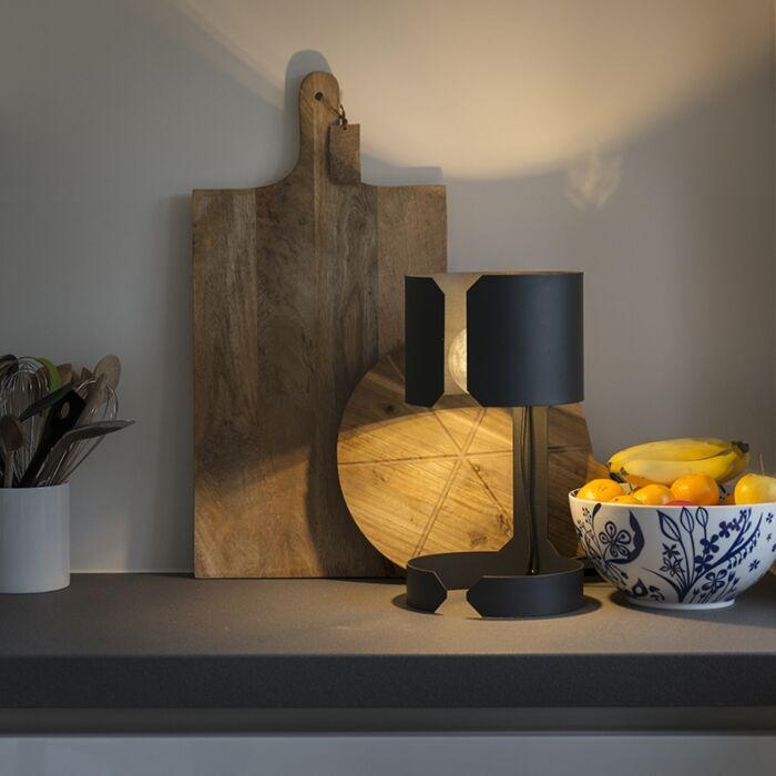 Design-tafellamp-mat-zwart---Waltz