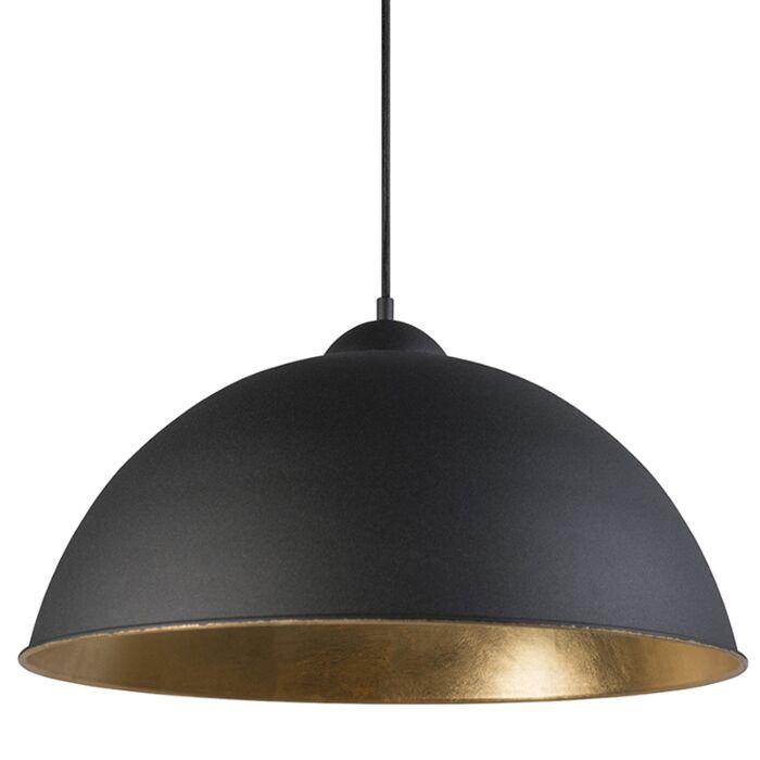 Landelijke-ronde-hanglamp-50cm-zwart-met-gouden-binnenkant---Magna