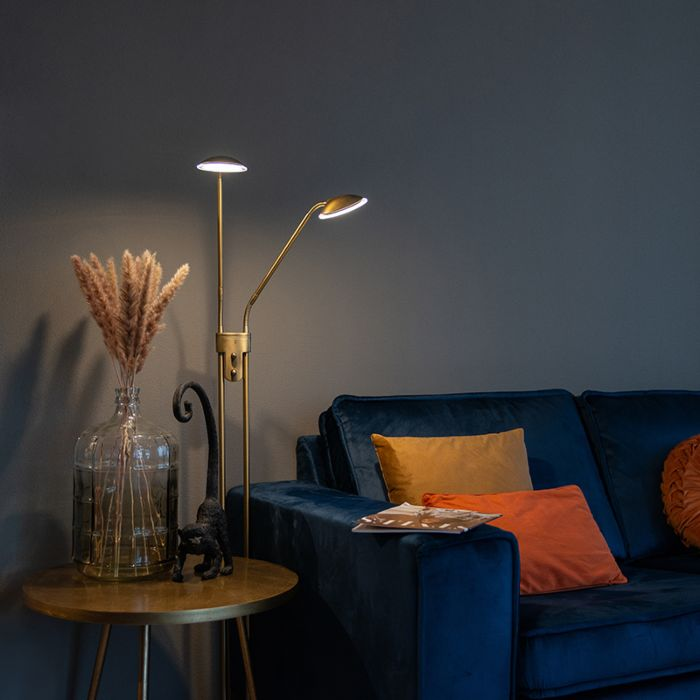 Moderne-vloerlamp-brons-met-leeslamp-incl.-LED---Eva