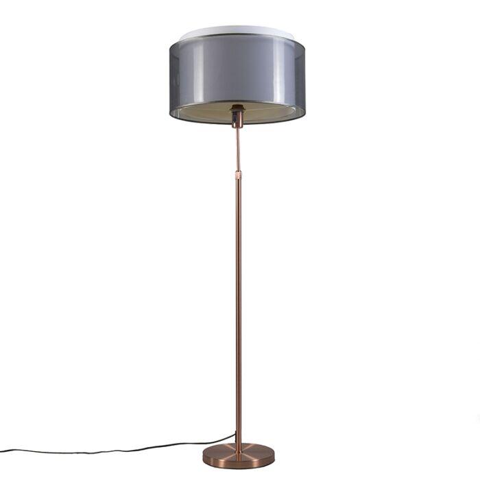 Vloerlamp-koper-met-zwart/witte-kap-47-cm-verstelbaar---Parte