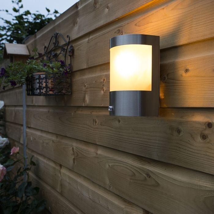 Buitenwandlamp-RVS-licht-donker-sensor---Mira
