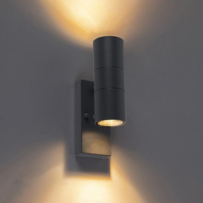 Buitenwandlamp-antraciet-IP44-met-licht-donker-sensor---Duo
