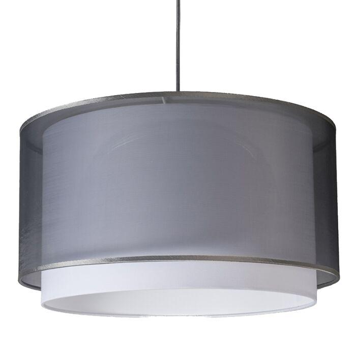 Moderne-hanglamp-met-kap-zwart/wit-47/25---Duo