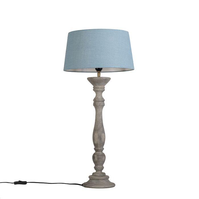 Tafellamp-Ritual-grijs-met-kap-35cm-zee-blauw