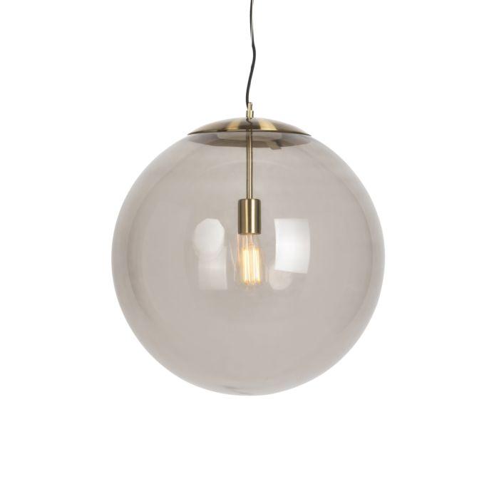 Moderne-hanglamp-messing-met-smoke-glas-50-cm---Ball