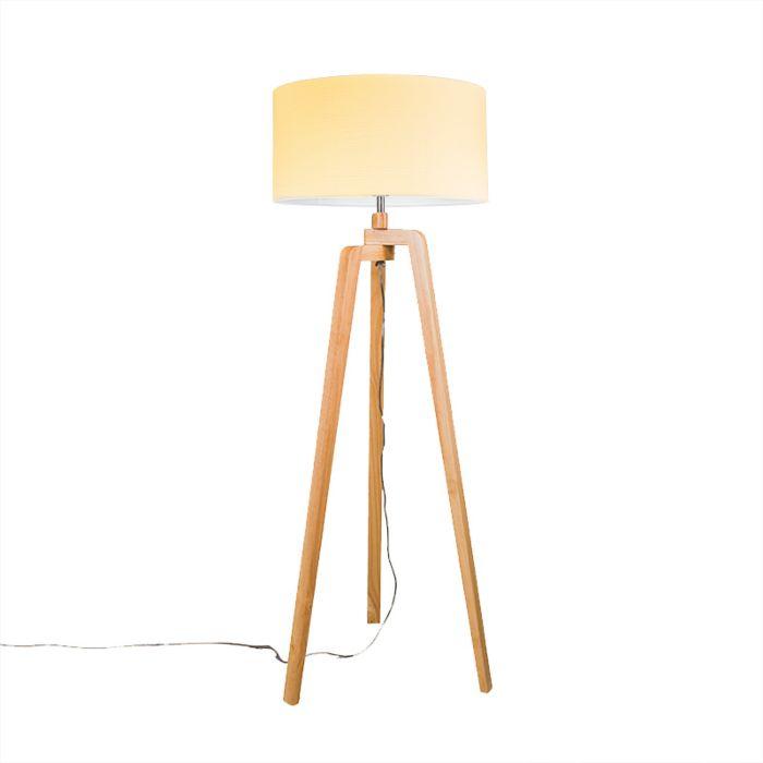 Vloerlamp-Puros-hout-met-kap-50cm-creme-wit