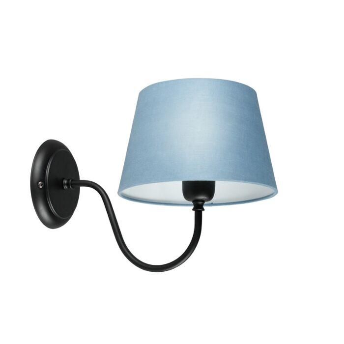 Wandlamp-Combi-Classic-zwart-met-kap-20cm-blauw