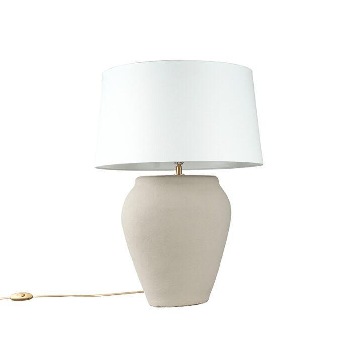 Tafellamp-Blava-ovaal-grijs-met-kap-45cm-wit