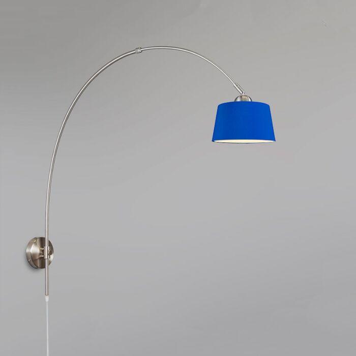 Wandlamp-Boog-staal-met-kap-30cm-blauw