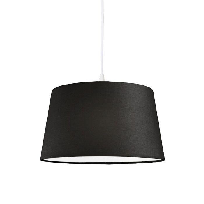 Moderne-hanglamp-wit-met-zwarte-kap-45-cm---Pendel