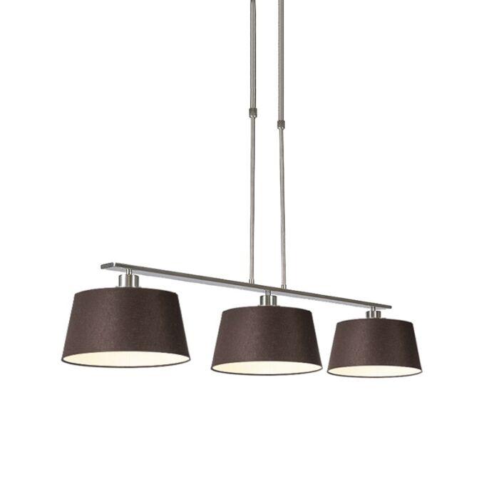 Moderne-hanglamp-bruin-staal-met-kap-35-cm---Combi-3-Deluxe