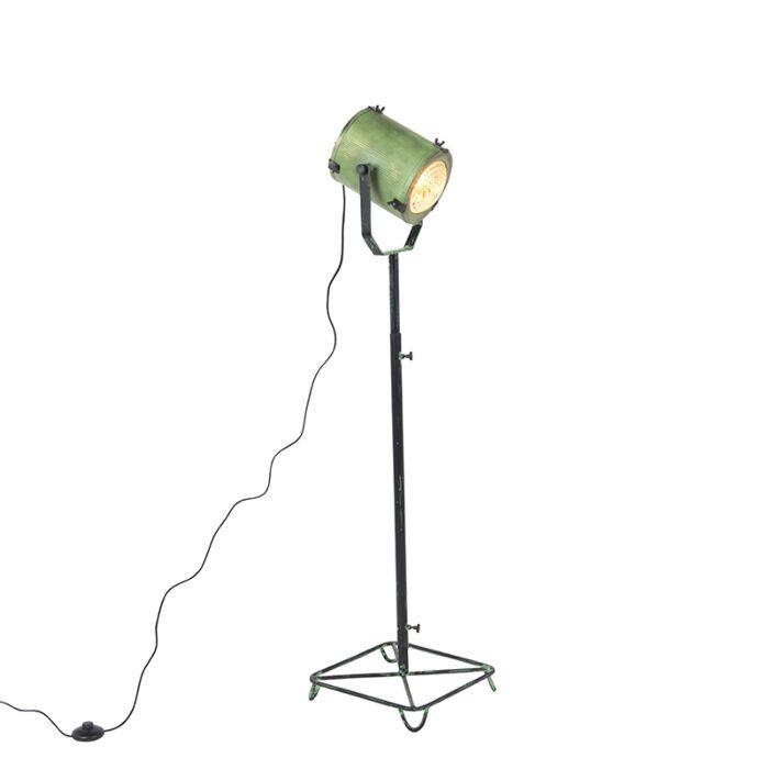Vintage-filmspot-vloerlamp-antiek-groen-140-cm---Brooke