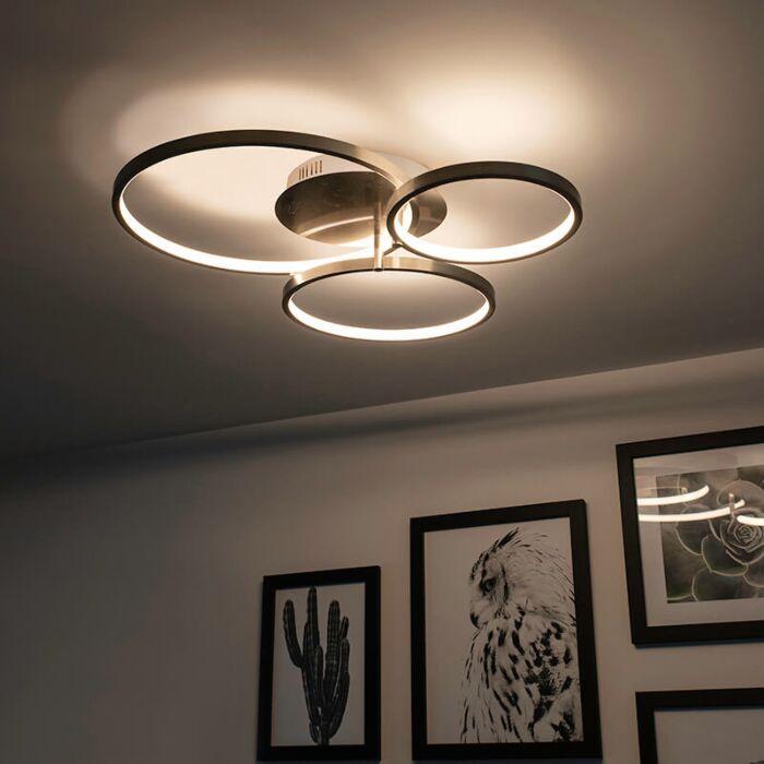 Moderne-plafondlamp-staal-incl.-LED-en-dimmer--Rondas