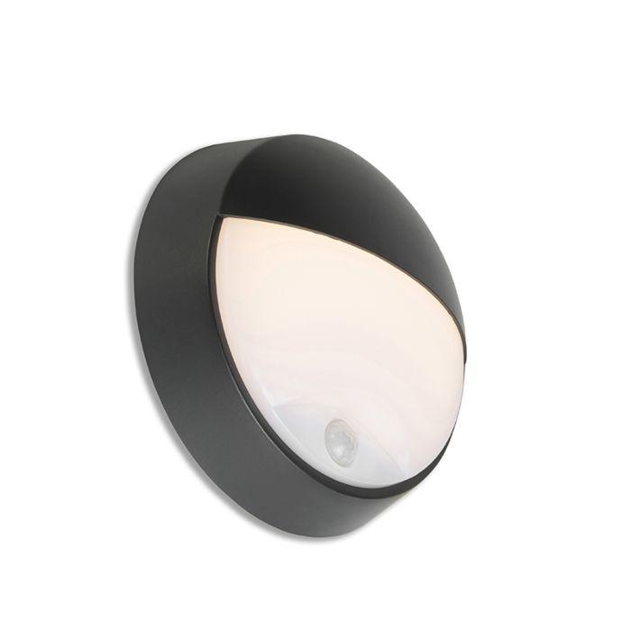 Buitenwandlamp-zwart-incl.-LED-met-bewegingssensor-IP54---Hortus