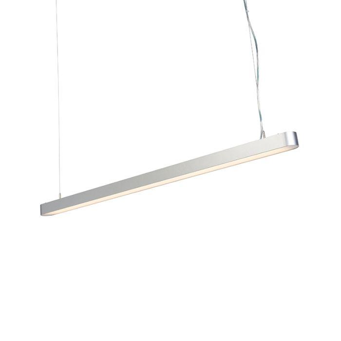 Moderne-langwerpige-hanglamp-zilver-125cm-incl.-LED---Duct-R