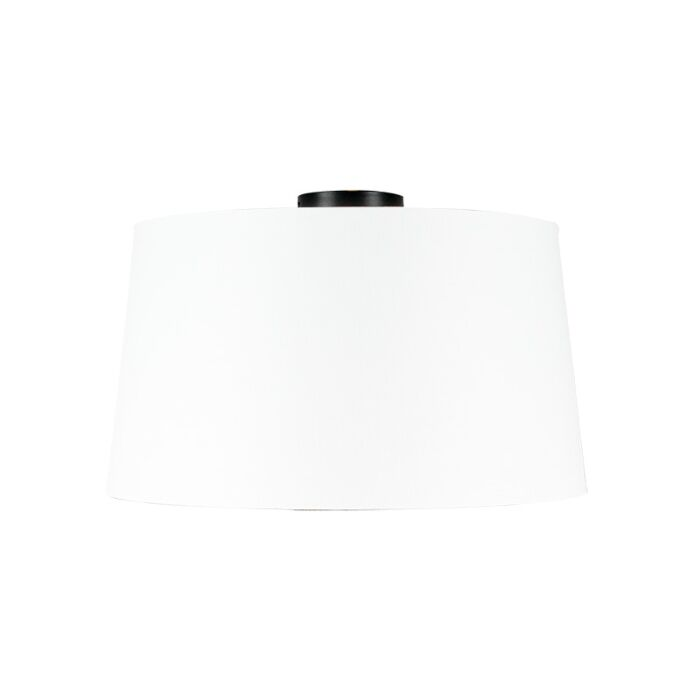 Plafondlamp-mat-zwart-met-witte-kap-45-cm---Combi