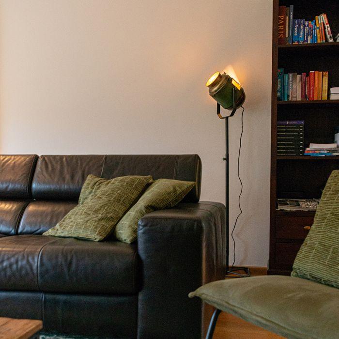 Industriële-vloerlamp-brons-met-groen-140-cm---Byron