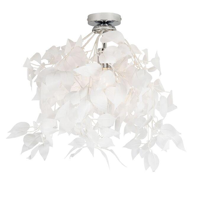 Romantische-plafondlamp-wit-met-blaadjes---Feder