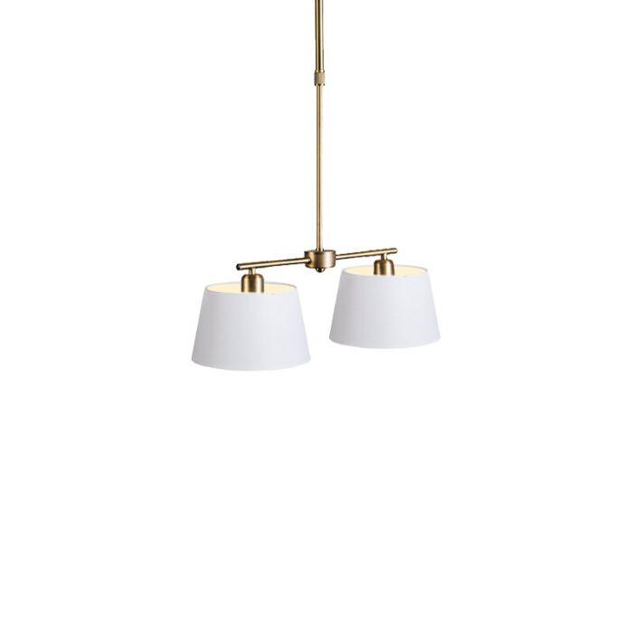Hanglamp-Mix-2-brons-dimmer-met-kap-20cm-wit