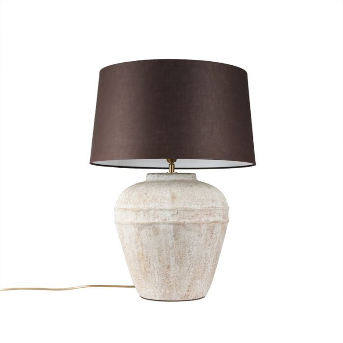 Tafellamp-Arta-small-scotch-met-kap-45cm-bruingrijs