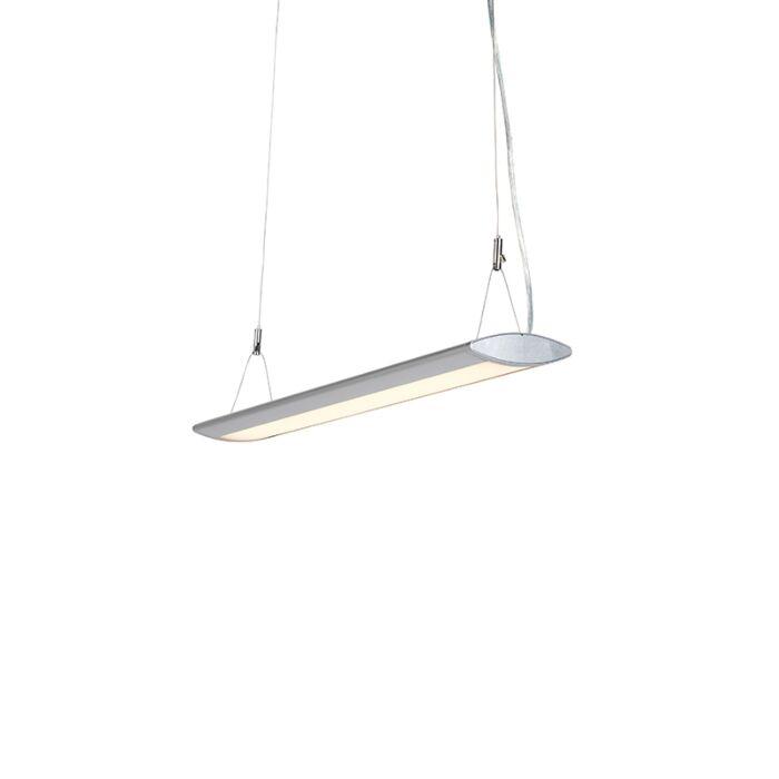 Moderne-langwerpige-hanglamp-zilver-65cm-incl.-LED---Duct-O