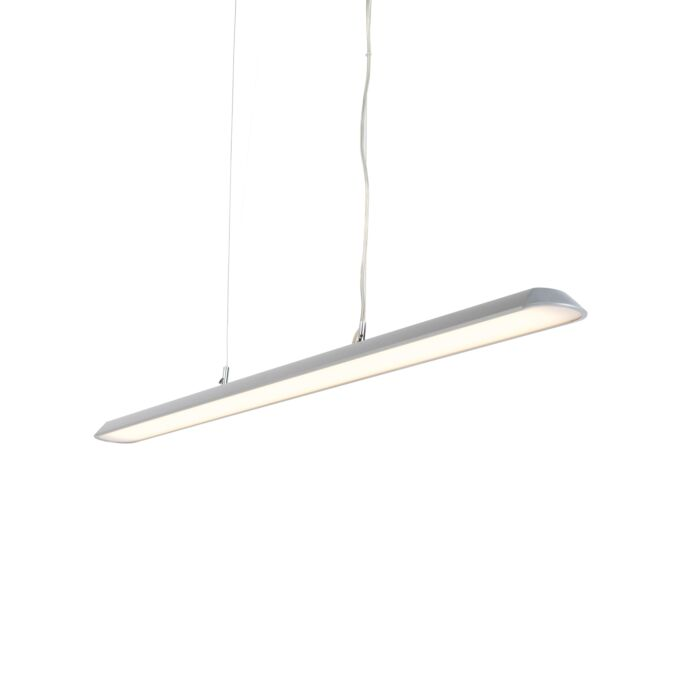 Moderne-langwerpige-hanglamp-zilver-130cm-incl.-LED---Duct-S