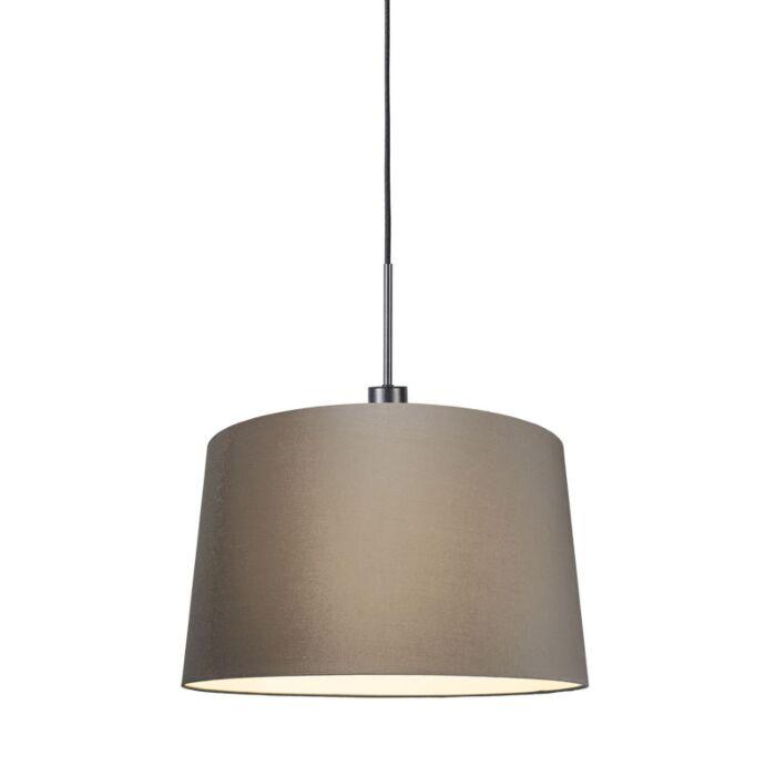 Moderne-hanglamp-zwart-met-kap-45-cm-taupe---Combi-1