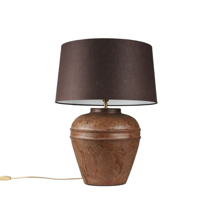 Tafellamp-Arta-small-roest-met-kap-45cm-bruingrijs