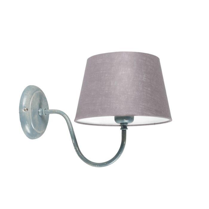 Wandlamp-Combi-Classic-beton-met-kap-20cm-lichtgrijs