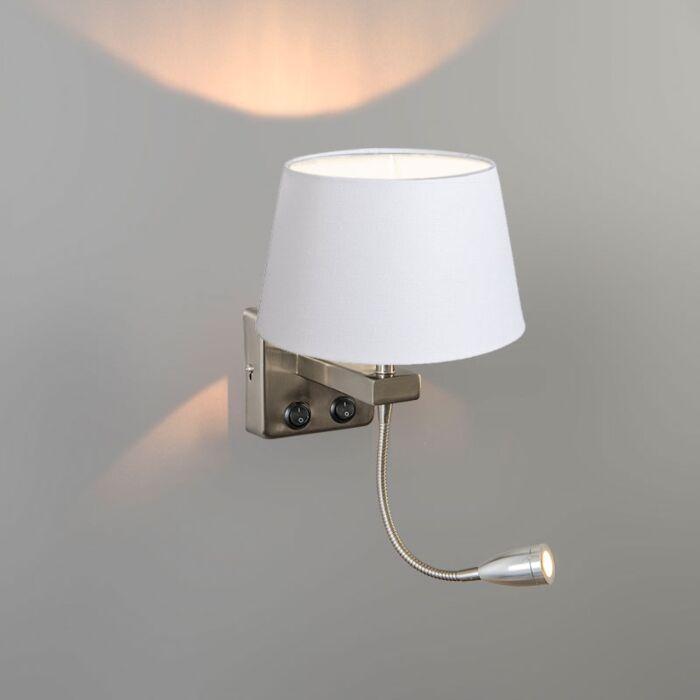 Wandlamp-Brescia-Combi-staal-met-kap-20cm-wit