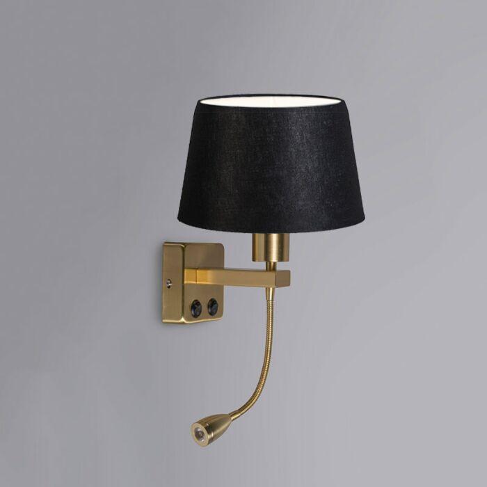 Wandlamp-Brescia-Combi-goud-met-kap-20cm-zwart