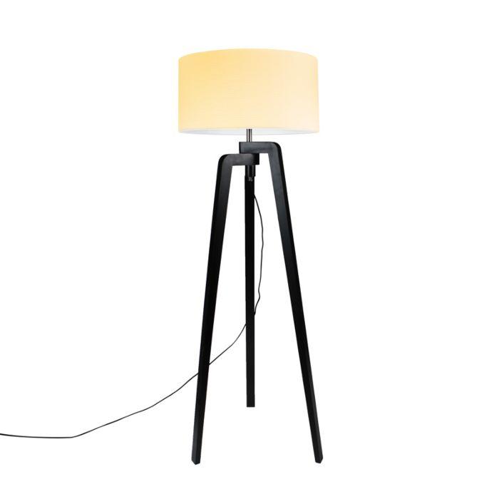 Vloerlamp-Puros-zwart-met-kap-50cm-creme-wit