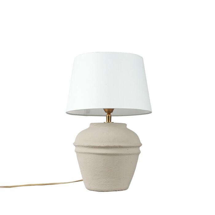 Tafellamp-Arta-XS-grijs-met-kap-25cm-wit