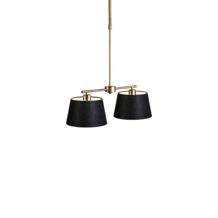 Hanglamp-Mix-2-brons-met-kap-20-cm-zwart