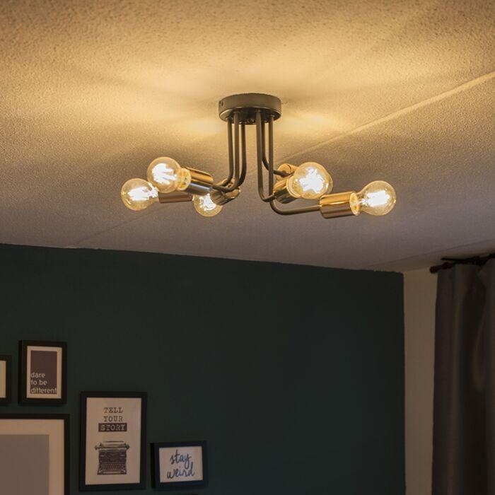 Plafondlamp-Cava-6-zwart-met-goud