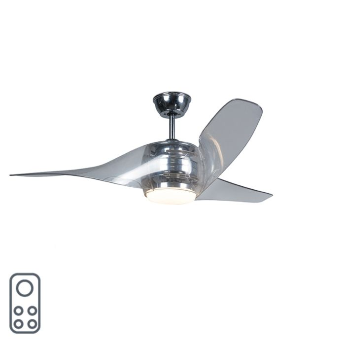 Plafondventilator-chroom-incl.-LED-met-afstandsbediening---Sirocco-50