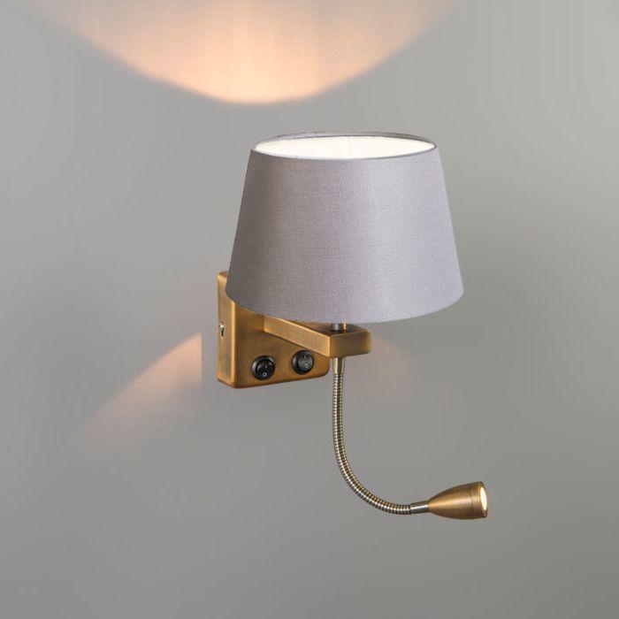 Wandlamp-Brescia-Combi-brons-met-kap-20cm-lichtgrijs