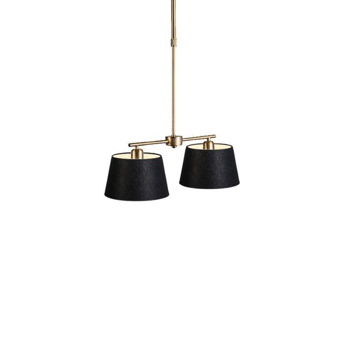 Hanglamp-Mix-2-brons-dimmer-met-kap-20cm-zwart