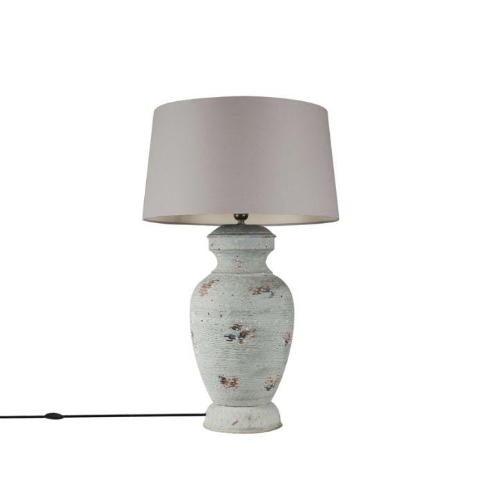 Tafellamp-voet-Barun-verweerd-grijs-met-kap-45cm-lichtgrijs