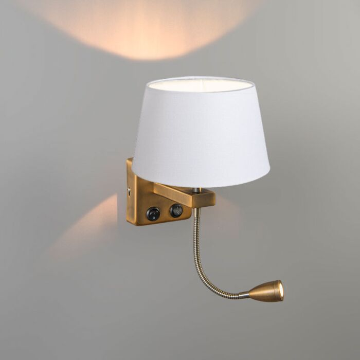 Wandlamp-Brescia-Combi-brons-met-kap-20cm-wit