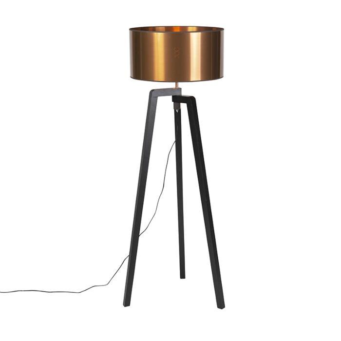 Vloerlamp-zwart-met-koperen-kap-50-cm---Puros