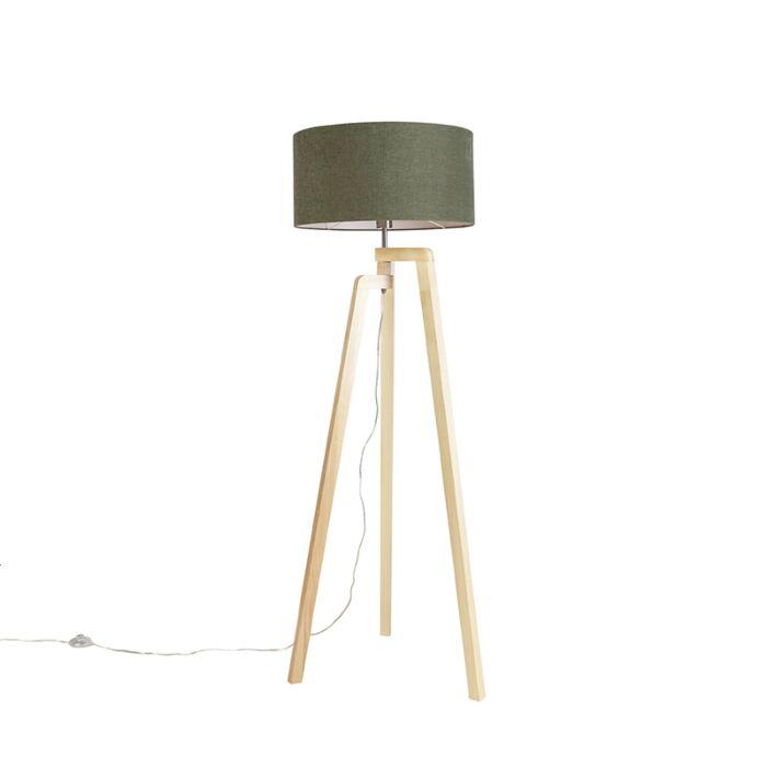 Vloerlamp-tripod-hout-met-kap-50-cm-groen---Puros
