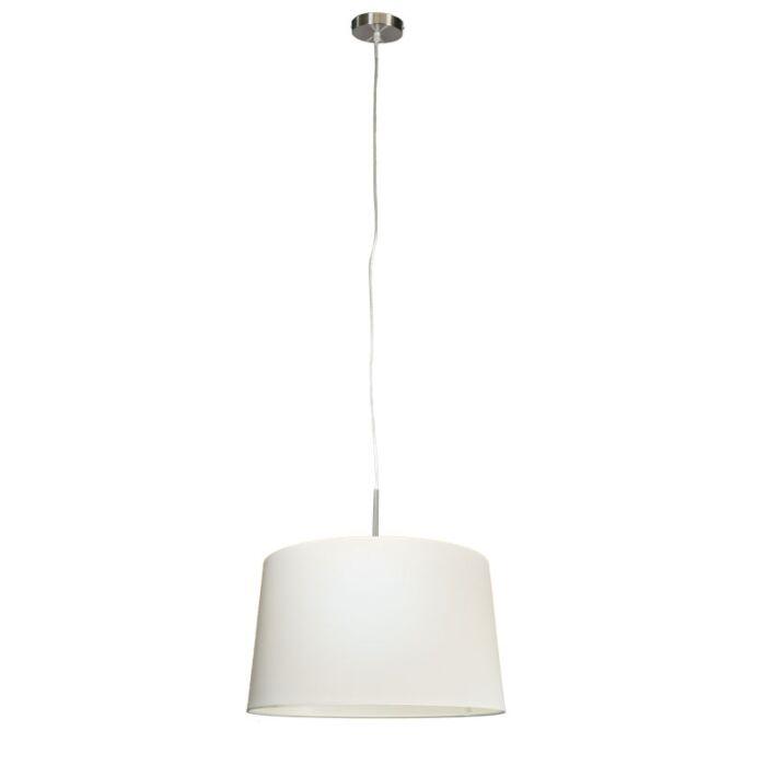 Moderne-hanglamp-staal-met-kap-45cm-wit---Combi-1