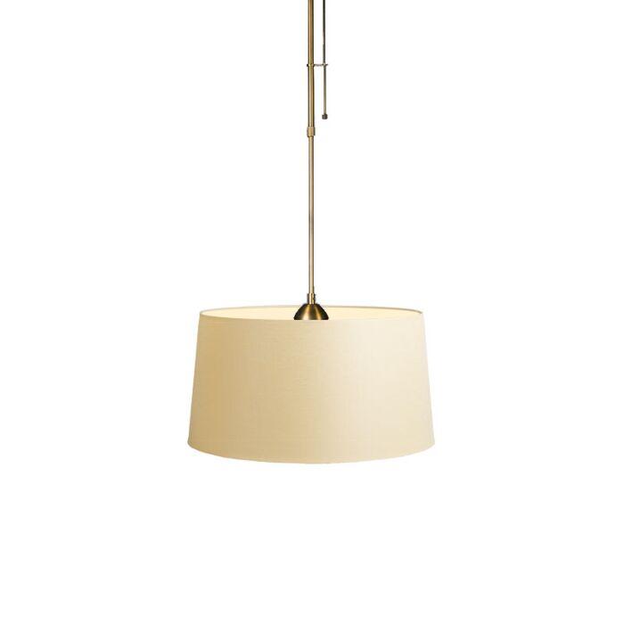 Hanglamp-Mix-1-brons-dimmer-met-kap-45cm-creme